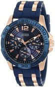Men's stainless steel navy blue and silver watch